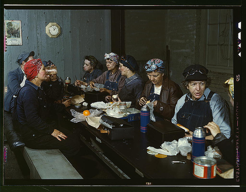 Lunch time for lady workers of the Chicago and North Western Railway Company. 1943 Clinton, Iowa
