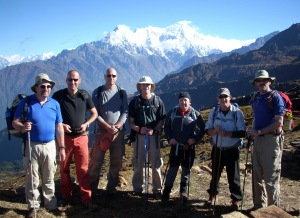 Group of men on Nepalese mountain