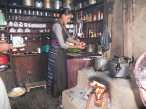 Nepali woman preparing a meal