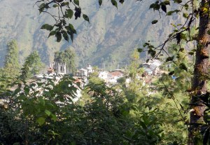 view down to a mountain village