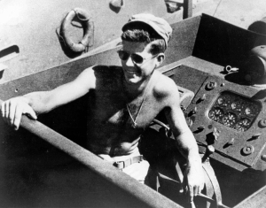Kennedy in cockpit of PT-109