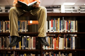 Note: Although this jovial picture may lead you to believe otherwise, in general we do NOT like it when you sit on the library shelves!