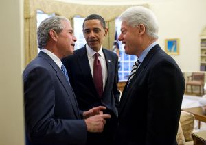 A meeting of left-handed Presidents.  [Image in the public domain; click photograph for further info]