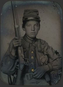 A haunting image of a young Civil War soldier.  [Image is in the public domain; click picture for full source information.]