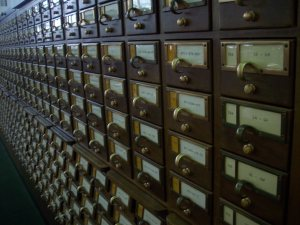Card catalogs in the International Poetry Room.