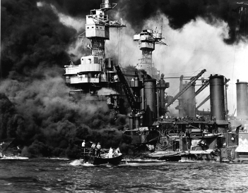 Photo of battleship USS West Virginia under attack