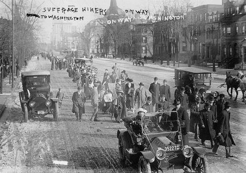 """Women (and men!) hiked around the east coast in support of women's suffrage? Two major """"Suffrage Hikes"""" brought attention to the campaign: the 1912 hike from Manhattan to Albany, NY and the 1913 hike from Manhattan to Washington, DC. (Photo: Suffrage hikers on way to Washington, 1913. Library of Congress.)"""