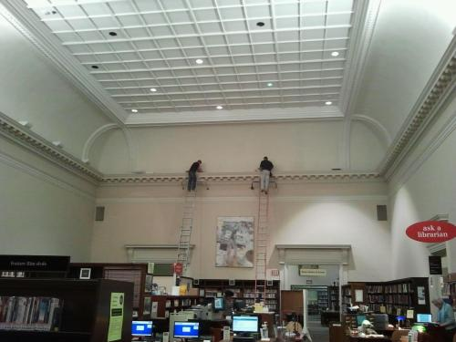 Changing the Bulbs - photo from the Music Department Archives*