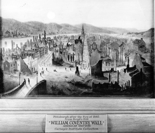 Looking Toward the Point After the Fire,  from a painting by William Coventry Wall. Pittsburgh Photographic Library, all rights reserved.