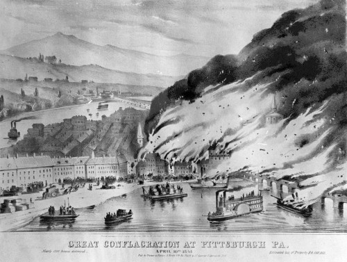 This sketch shows part of the city and the Monongahela Bridge ablaze. Pittsburgh Photographic Library, all rights reserved.