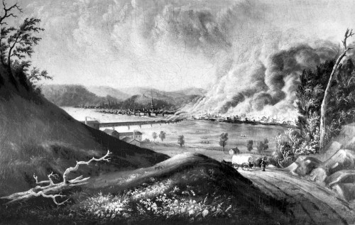 "Painting by William Coventry Wall entitled ""View of the Great Fire of Pittsburgh.""  Original in color is held by the Carnegie Museum of Art. Pittsburgh Photographic Library, all rights reserved."