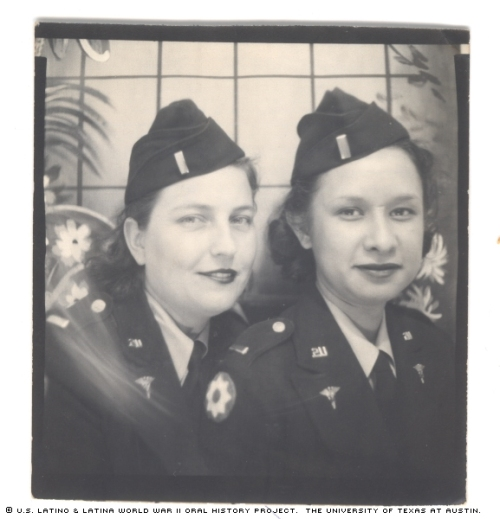Rafaela Esquivel (right) with colleague Adele Bensis, 1943. Photo obtained  from the University of Texas at Austin, which retains all rights. click through to visit source page.