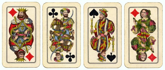 Vintage playing cards of uncertain origin, posted by Flickr user William Creswell. Some rights reserved. Click through for source page.