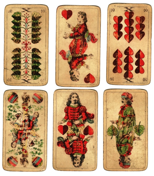 Vintage German playing cards, posted by Flickr user Valeriana Solaris. Some rights reserved. Click through for source page.