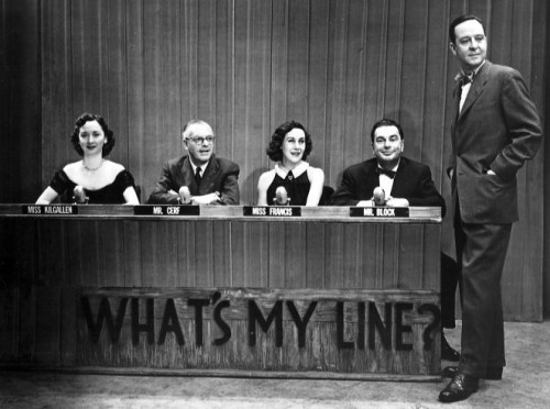 Photo of the original What's My Line? television set, with the panel of the show. Courtesy of Wikipedia.
