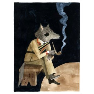 What's this pipe-smoking, eye-patch-wearing wolf up to? You'll have to read Under Wildwood to find out.