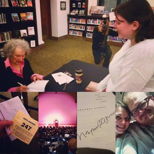 Collage of photos taken at the Margaret Atwood lecture and signing on 10/28/15, provided by Dana Bell.