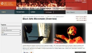 Screenshot, The African American Experience - topics section / Black Arts Movement
