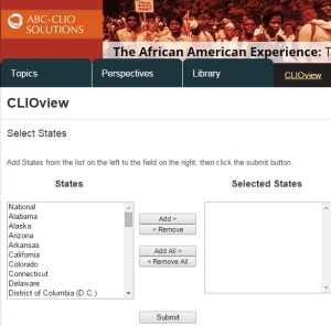 Screenshot of CLIOView tool, from The African American Experience.