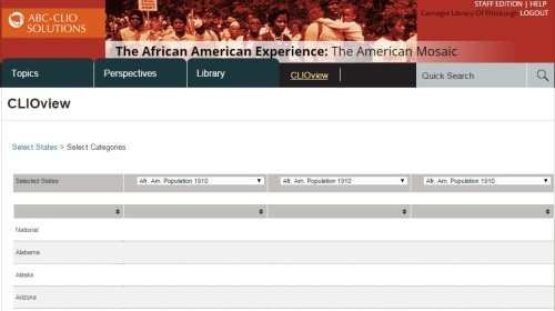 Screemshot, CLIOView tool, The African American Experience.